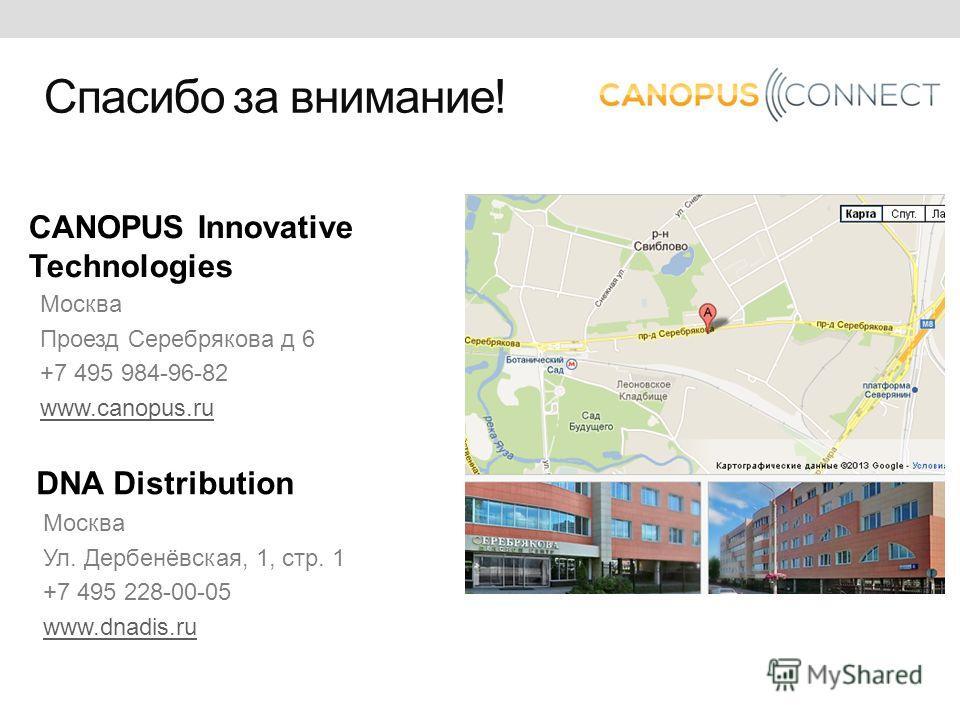 CANOPUS Innovative Technologies Москва Проезд Серебрякова д 6 +7 495 984-96-82 www.canopus.ru Спасибо за внимание! DNA Distribution Москва Ул. Дербенёвская, 1, стр. 1 +7 495 228-00-05 www.dnadis.ru