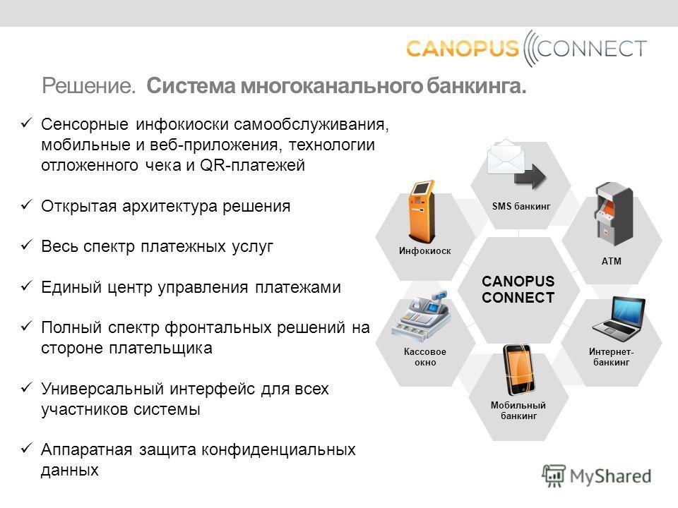 CANOPUS CONNECT SMS банкинг АТМ Интернет- банкинг Мобильный банкинг Кассовое окно Инфокиоск Решение. Система многоканального банкинга. Сенсорные инфокиоски самообслуживания, мобильные и веб-приложения, технологии отложенного чека и QR-платежей Открыт