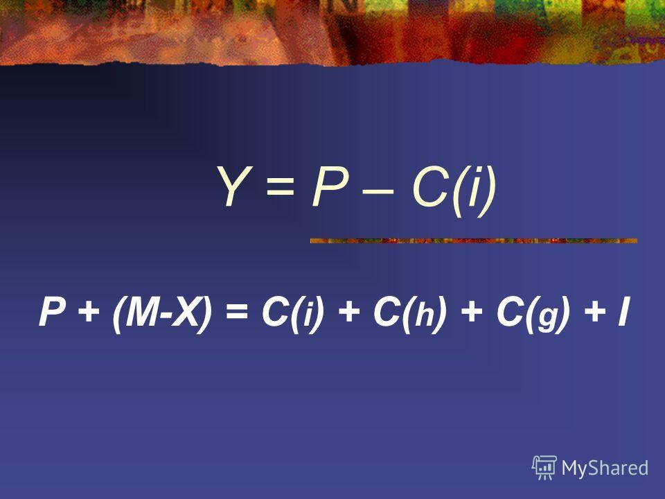 Y = P – C(i) P + (M-X) = C( i ) + C( h ) + C( g ) + I