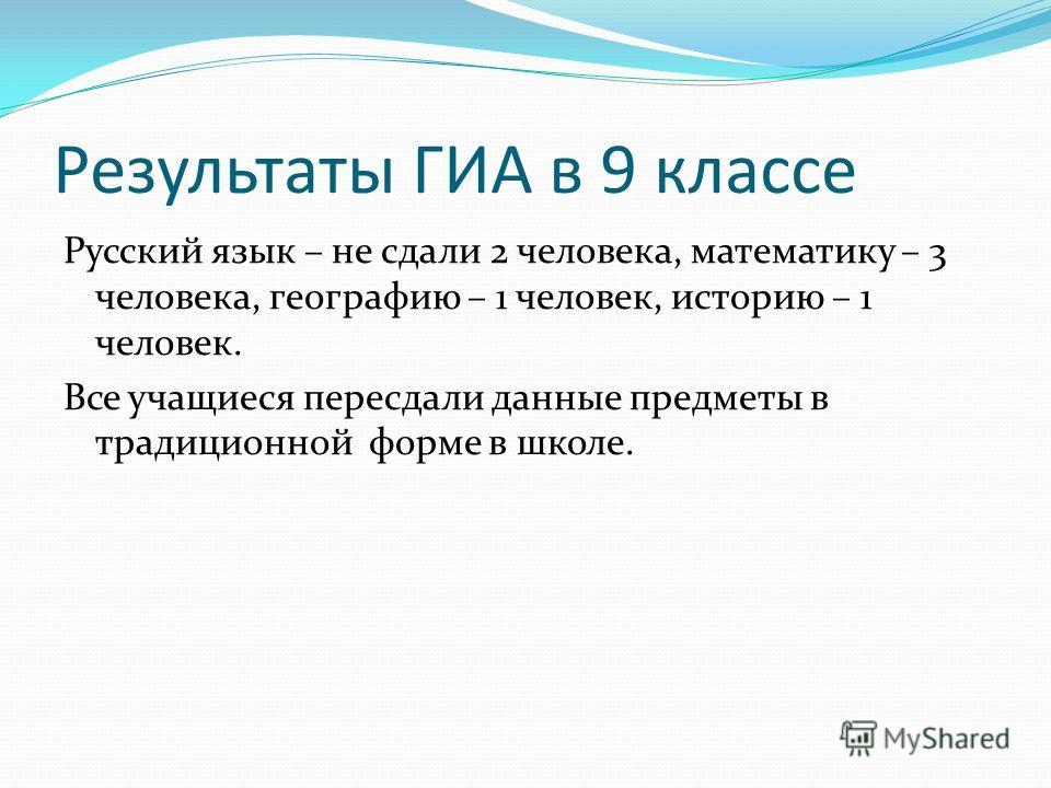 Результаты ГИА в 9 классе Русский язык – не сдали 2 человека, математику – 3 человека, географию – 1 человек, историю – 1 человек. Все учащиеся пересдали данные предметы в традиционной форме в школе.