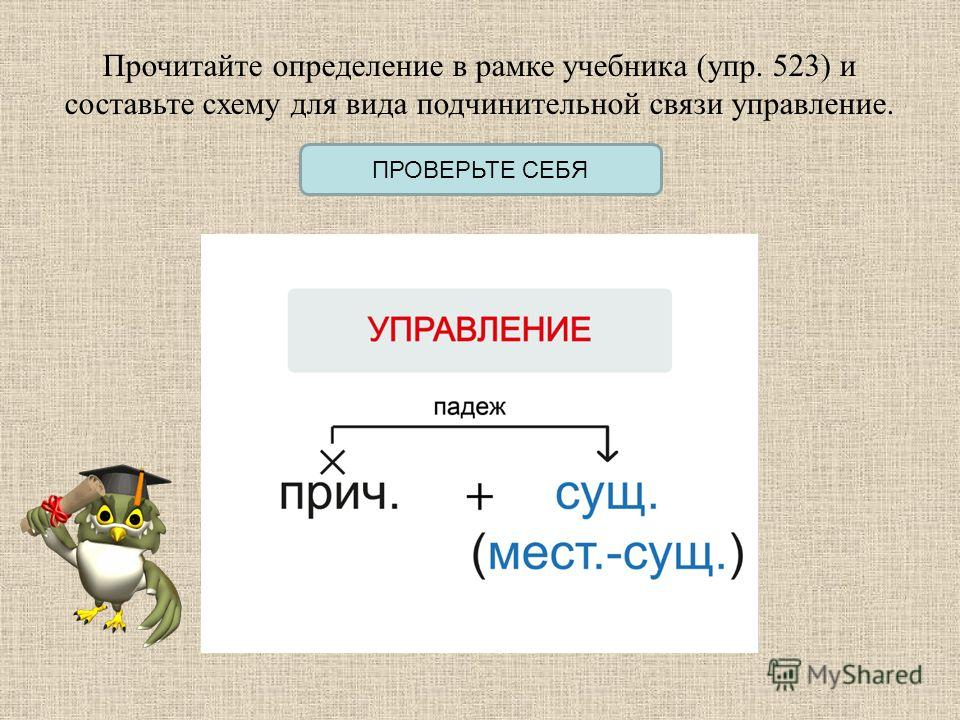 Прочитайте определение в рамке учебника (упр. 523) и составьте схему для вида подчинительной связи управление. ПРОВЕРЬТЕ СЕБЯ