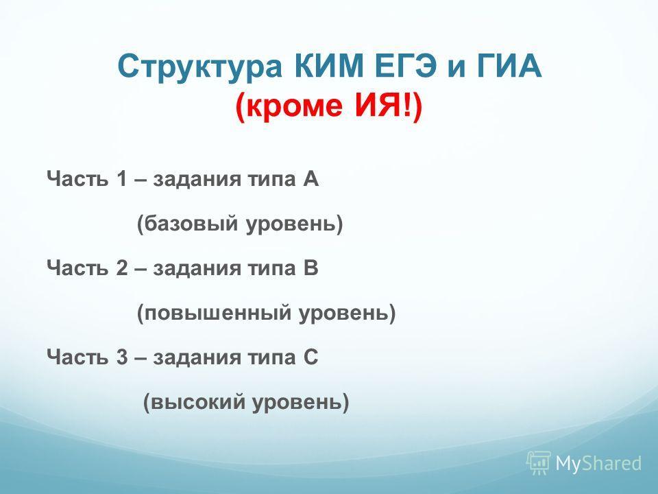 Структура КИМ ЕГЭ и ГИА (кроме ИЯ!) Часть 1 – задания типа А (базовый уровень) Часть 2 – задания типа В (повышенный уровень) Часть 3 – задания типа С (высокий уровень)