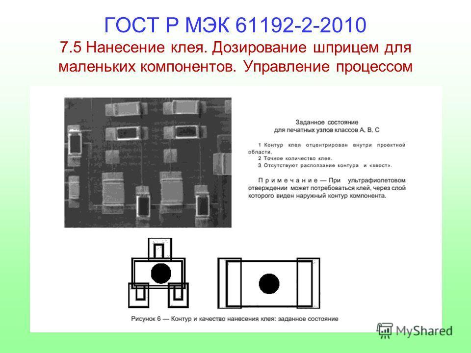 ГОСТ Р МЭК 61192-2-2010 7.5 Нанесение клея. Дозирование шприцем для маленьких компонентов. Управление процессом