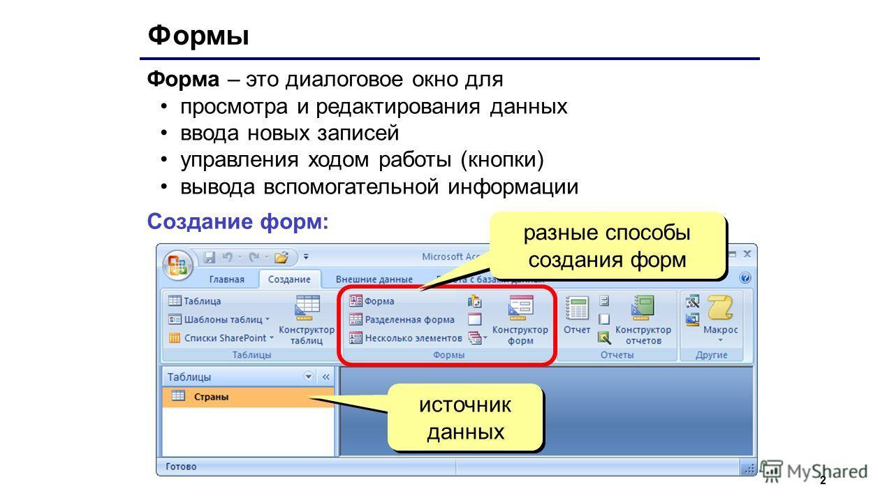 2 Формы Форма – это диалоговое окно для просмотра и редактирования данных ввода новых записей управления ходом работы (кнопки) вывода вспомогательной информации Создание форм: источник данных разные способы создания форм