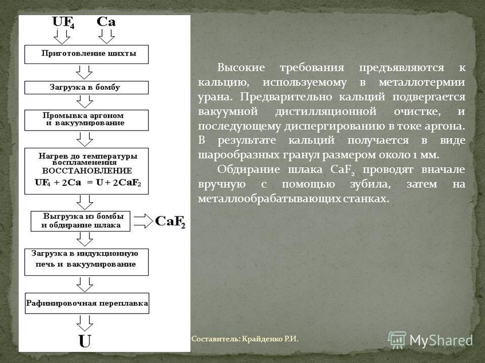 Высокие требования предъявляются к кальцию, используемому в металлотермии урана. Предварительно кальций подвергается вакуумной дистилляционной очистке, и последующему диспергированию в токе аргона. В результате кальций получается в виде шарообразных