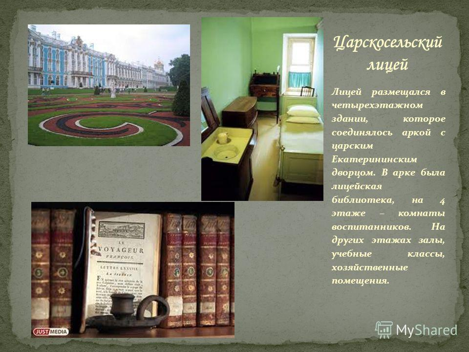 Лицей размещался в четырехэтажном здании, которое соединялось аркой с царским Екатерининским дворцом. В арке была лицейская библиотека, на 4 этаже – комнаты воспитанников. На других этажах залы, учебные классы, хозяйственные помещения.