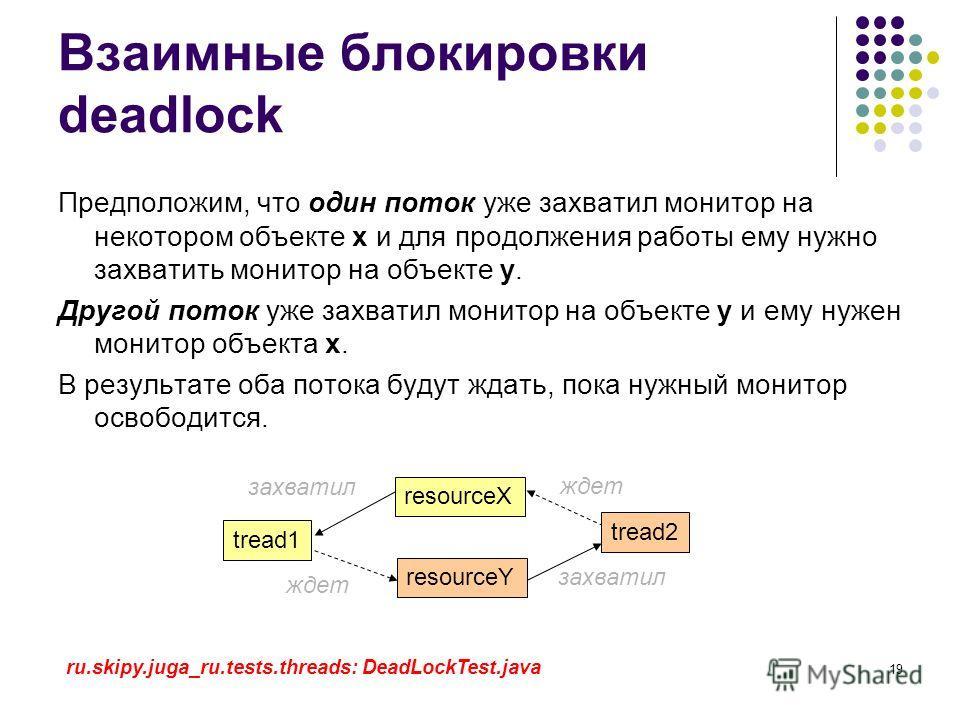 19 Взаимные блокировки deadlock Предположим, что один поток уже захватил монитор на некотором объекте x и для продолжения работы ему нужно захватить монитор на объекте y. Другой поток уже захватил монитор на объекте y и ему нужен монитор объекта x. В
