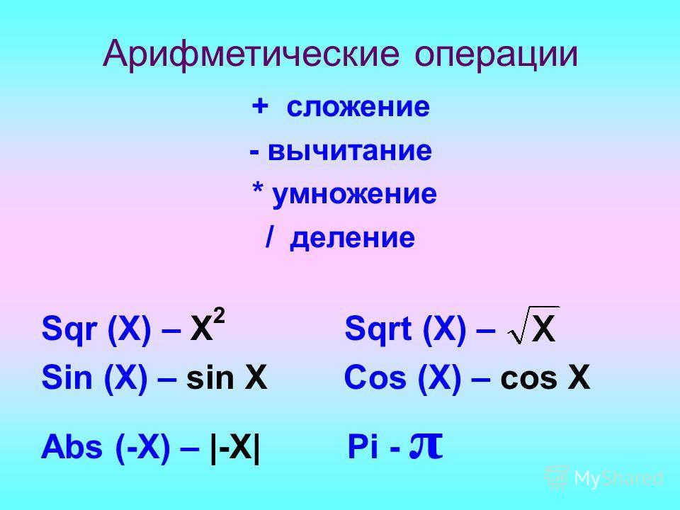 Sqr (X) – X 2 Sqrt (X) – Sin (X) – sin X Cos (X) – cos X Abs (-X) – |-X| Pi - π Арифметические операции + сложение - вычитание * умножение / деление