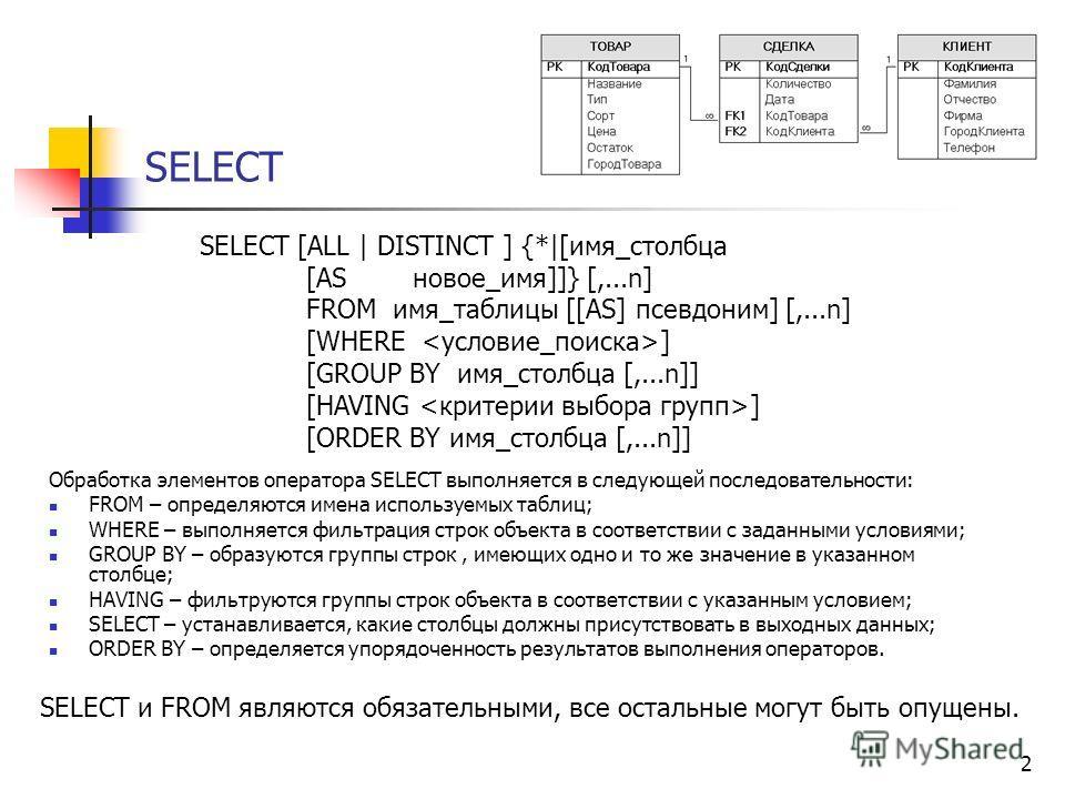 2 SELECT Обработка элементов оператора SELECT выполняется в следующей последовательности: FROM – определяются имена используемых таблиц; WHERE – выполняется фильтрация строк объекта в соответствии с заданными условиями; GROUP BY – образуются группы с