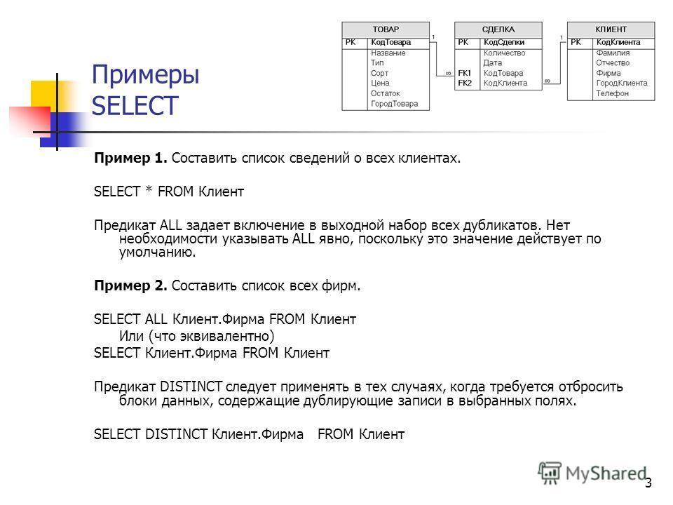 3 Примеры SELECT Пример 1. Составить список сведений о всех клиентах. SELECT * FROM Клиент Предикат ALL задает включение в выходной набор всех дубликатов. Нет необходимости указывать ALL явно, поскольку это значение действует по умолчанию. Пример 2.