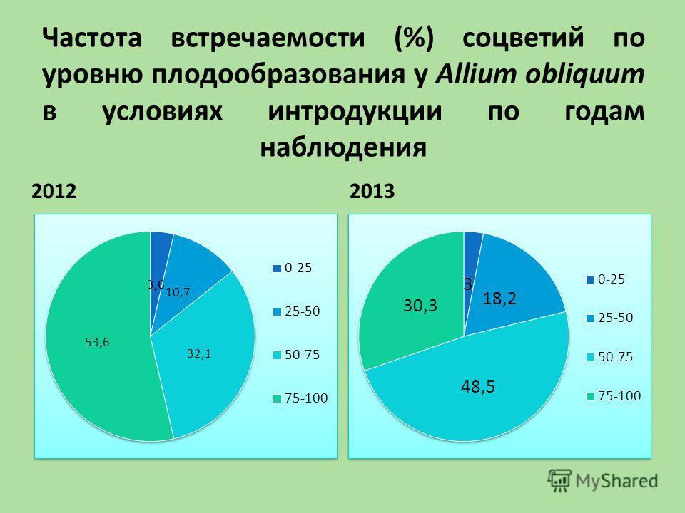 Частота встречаемости (%) соцветий по уровню плодообразования у Allium obliquum в условиях интродукции по годам наблюдения 20122013