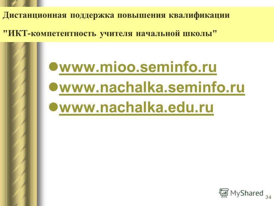 34 Дистанционная поддержка повышения квалификации ИКТ-компетентность учителя начальной школы www.mioo.seminfo.ru www.nachalka.seminfo.ru www.nachalka.edu.ru