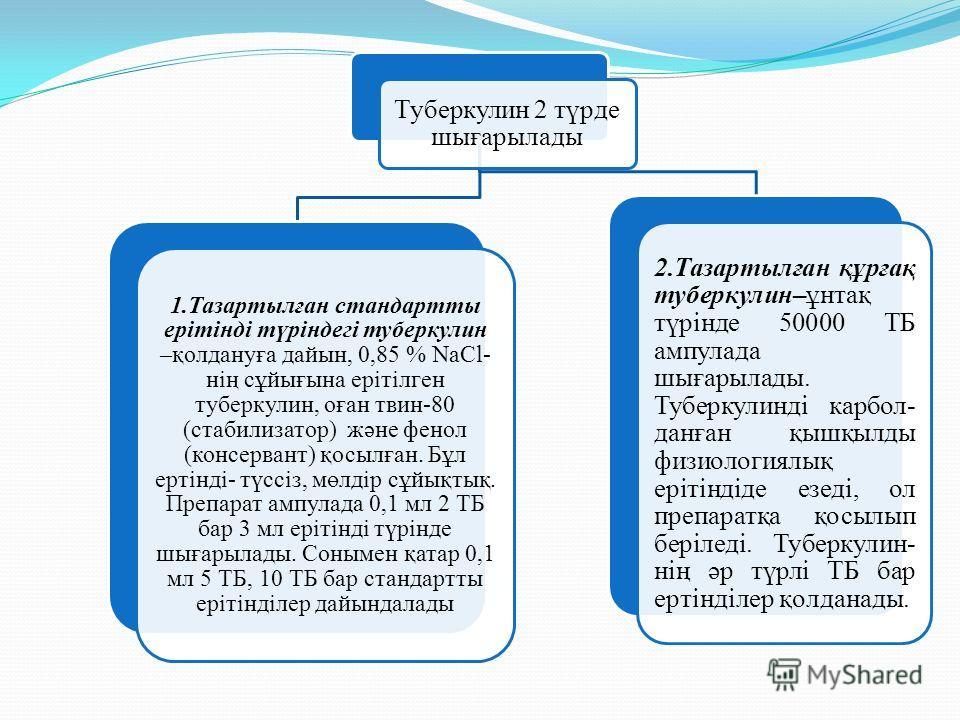 Туберкулин 2 түрде шығарылады 1.Тазартылған стандартты ерітінді түріндегі туберкулин –қолдануға дайын, 0,85 % NaCl- нің сұйығына ерітілген туберкулин, оған твин-80 (стабилизатор) және фенол (консервант) қосылған. Бұл ертінді- түссіз, мөлдір сұйықтық.