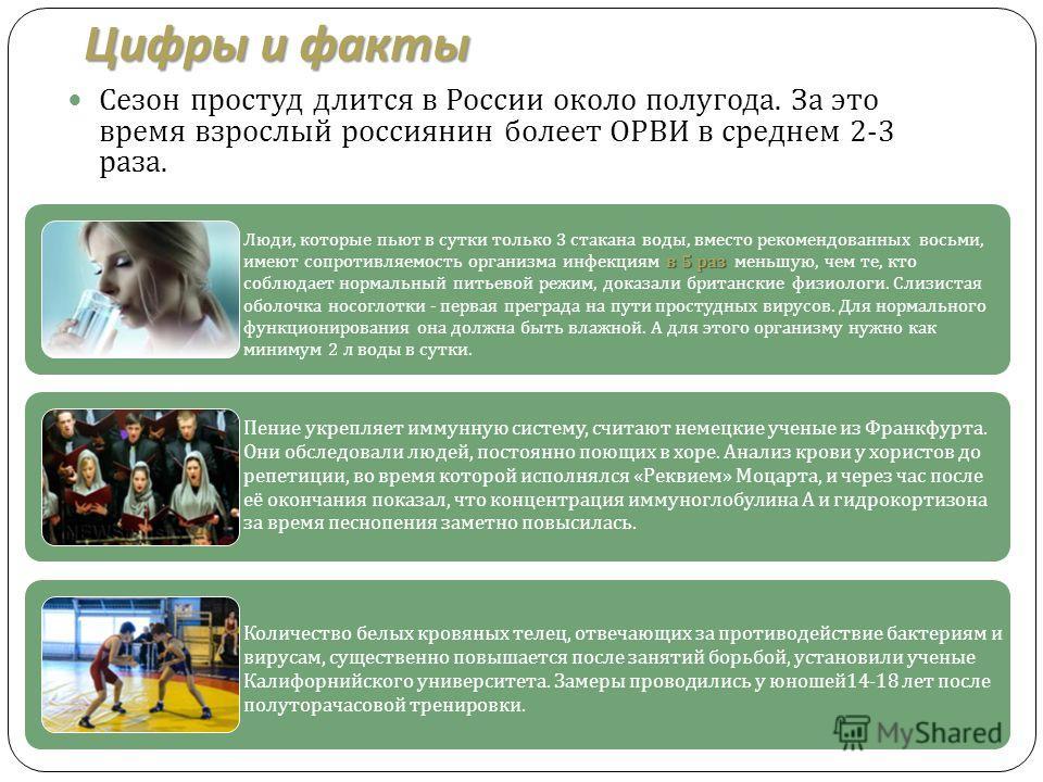 Цифры и факты Сезон простуд длится в России около полугода. За это время взрослый россиянин болеет ОРВИ в среднем 2-3 раза. в 5 раз Люди, которые пьют в сутки только 3 стакана воды, вместо рекомендованных восьми, имеют сопротивляемость организма инфе