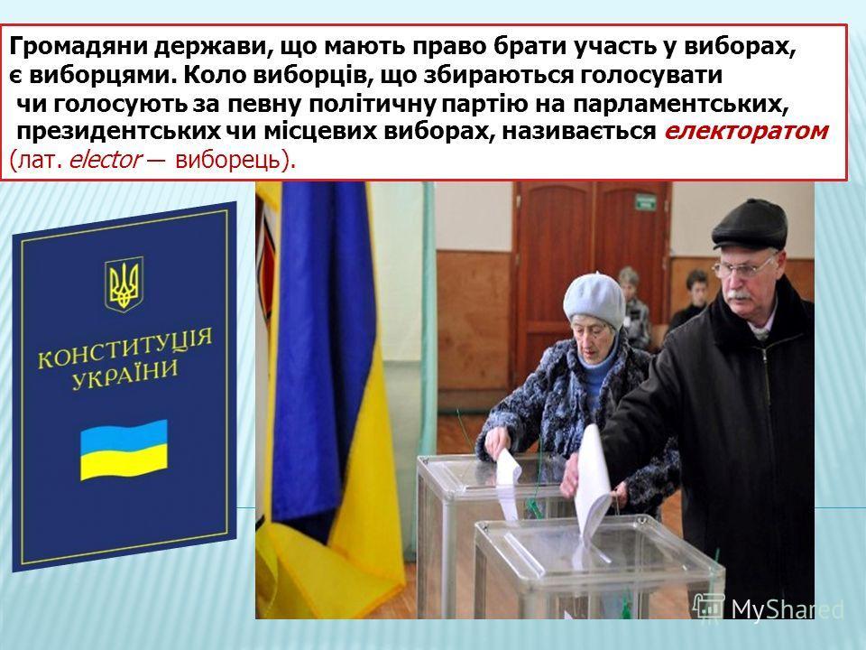 Громадяни держави, що мають право брати участь у виборах, є виборцями. Коло виборців, що збираються голосувати чи голосують за певну політичну партію на парламентських, президентських чи місцевих виборах, називається електоратом (лат. elector виборец