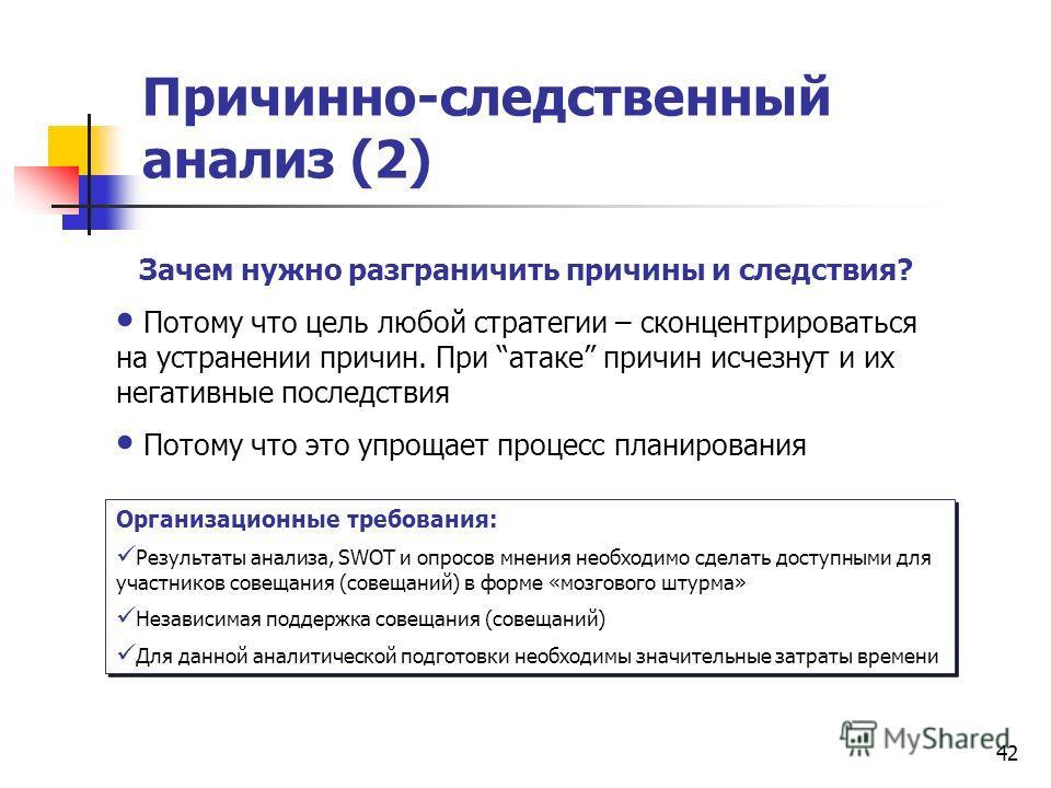Причинно-следственный анализ (2) Организационные требования: Результаты анализа, SWOT и опросов мнения необходимо сделать доступными для участников совещания (совещаний) в форме «мозгового штурма» Независимая поддержка совещания (совещаний) Для данно