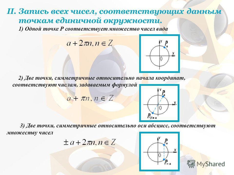 II.Запись всех чисел, соответствующих данным точкам единичной окружности. 1) Одной точке Р соответствует множество чисел вида 2) Две точки, симметричные относительно начала координат, соответствуют числам, задаваемым формулой 3) Две точки, симметричн