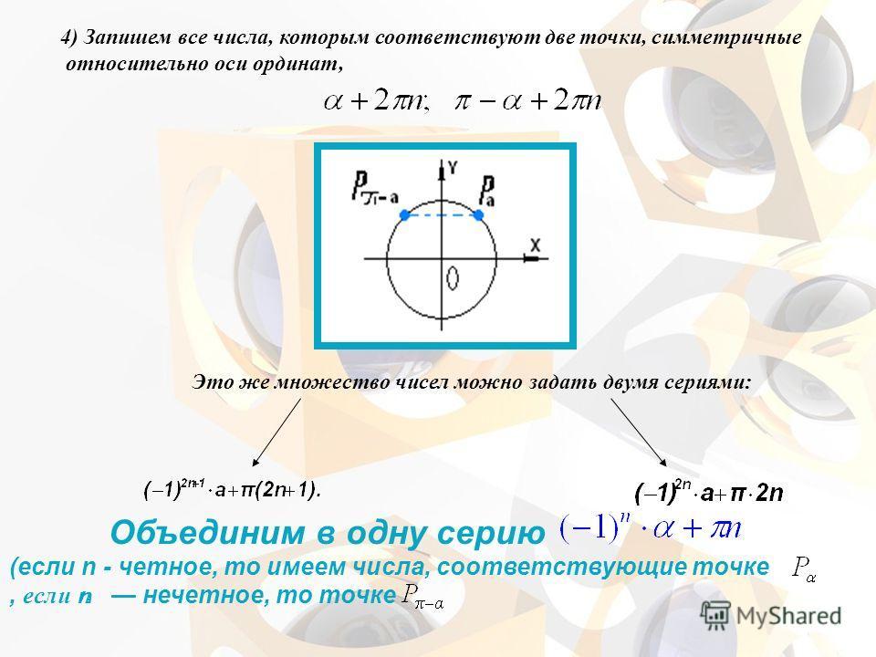 4) Запишем все числа, которым соответствуют две точки, симметричные относительно оси ординат, Это же множество чисел можно задать двумя сериями: Объединим в одну серию (если n - четное, то имеем числа, соответствующие точке, если n нечетное, то точк