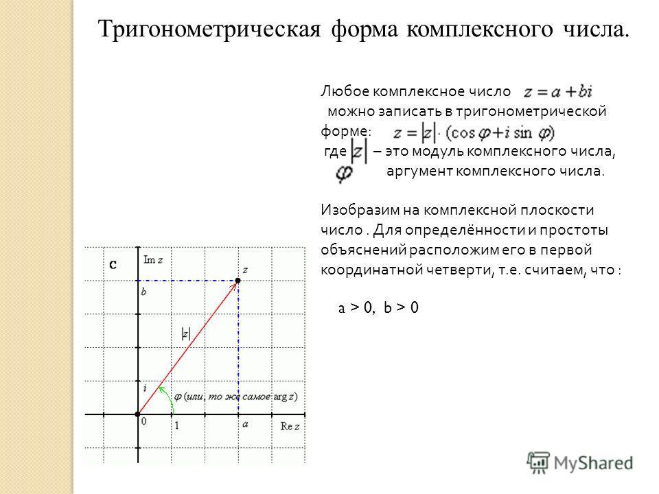 Тригонометрическая форма комплексного числа. Любое комплексное число можно записать в тригонометрической форме : где – это модуль комплексного числа, аргумент комплексного числа. Изобразим на комплексной плоскости число. Для определённости и простоты