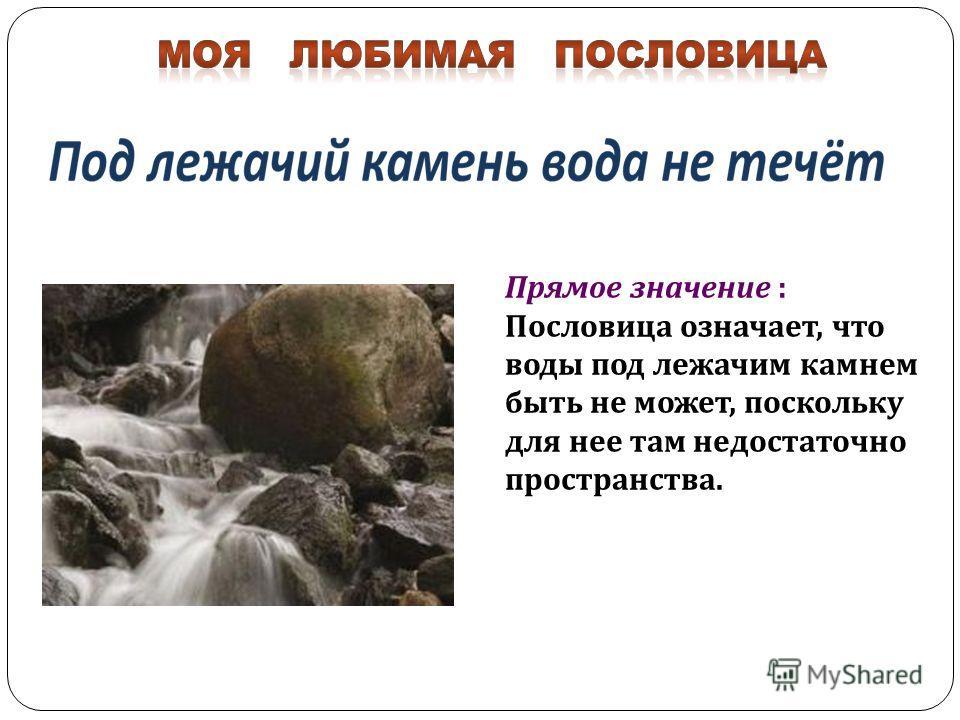 Прямое значение : Пословица означает, что воды под лежачим камнем быть не может, поскольку для нее там недостаточно пространства.