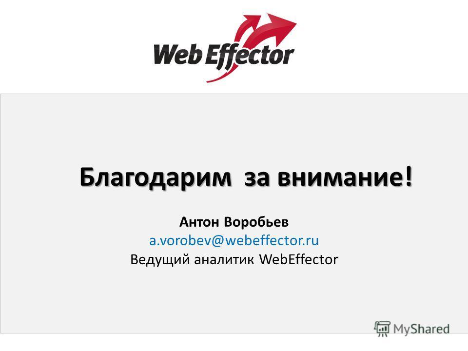 Благодарим за внимание! Антон Воробьев a.vorobev@webeffector.ru Ведущий аналитик WebEffector