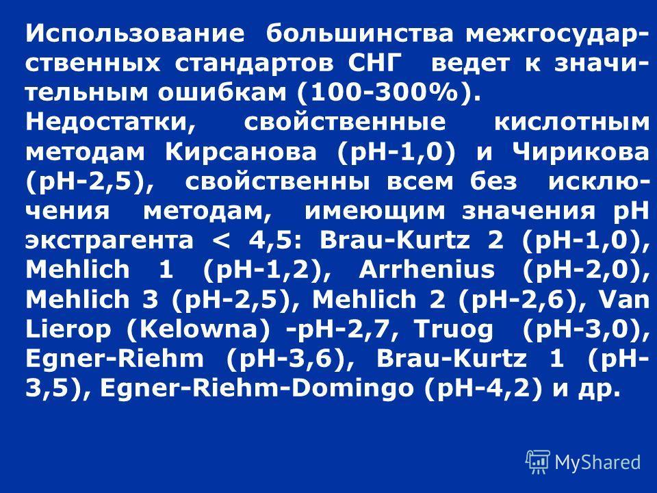 Использование большинства межгосудар- ственных стандартов СНГ ведет к значи- тельным ошибкам (100-300%). Недостатки, свойственные кислотным методам Кирсанова (рН-1,0) и Чирикова (рН-2,5), свойственны всем без исклю- чения методам, имеющим значения рН