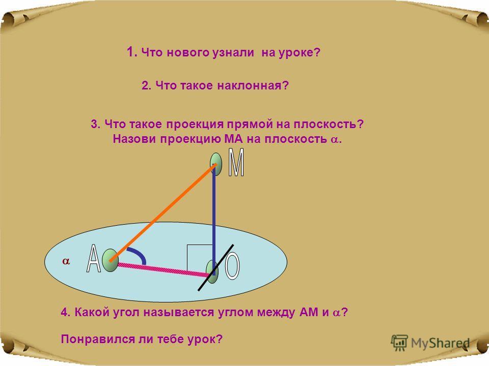 1. Что нового узнали на уроке? 2. Что такое наклонная? Понравился ли тебе урок? 3. Что такое проекция прямой на плоскость? Назови проекцию МА на плоскость. 4. Какой угол называется углом между АМ и ?