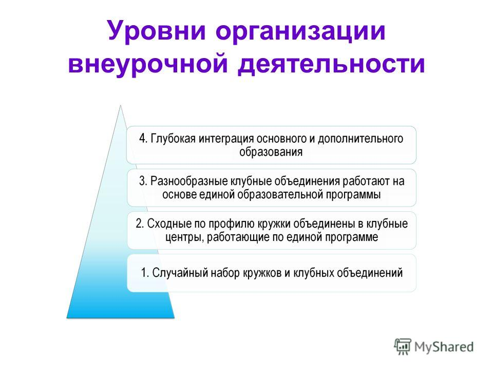 Уровни организации внеурочной деятельности
