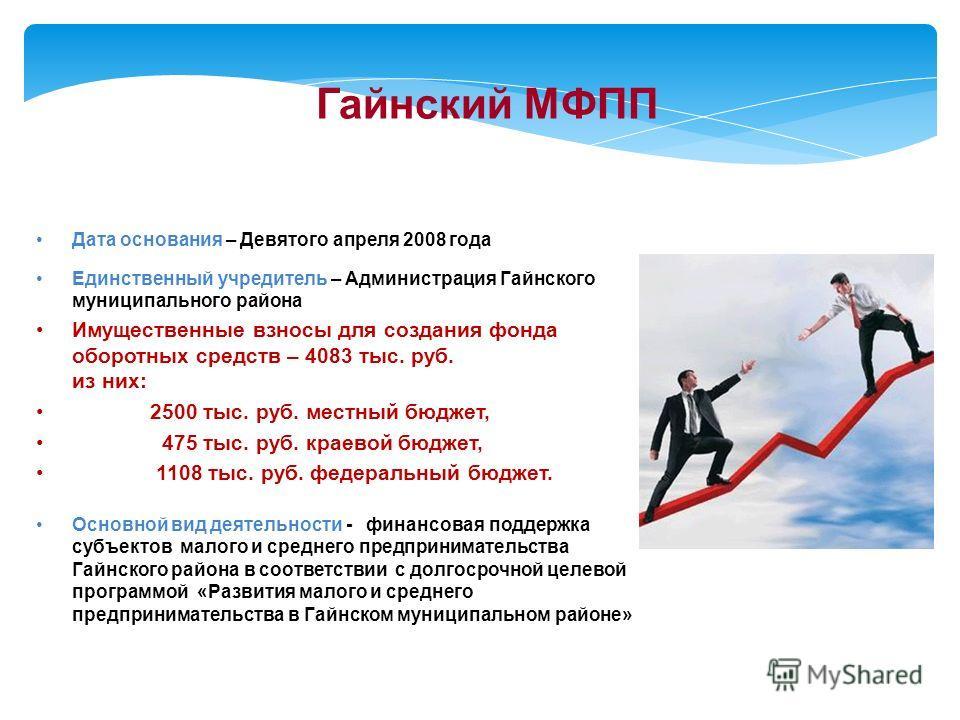 Дата основания – Девятого апреля 2008 года Единственный учредитель – Администрация Гайнского муниципального района Имущественные взносы для создания фонда оборотных средств – 4083 тыс. руб. из них: 2500 тыс. руб. местный бюджет, 475 тыс. руб. краевой
