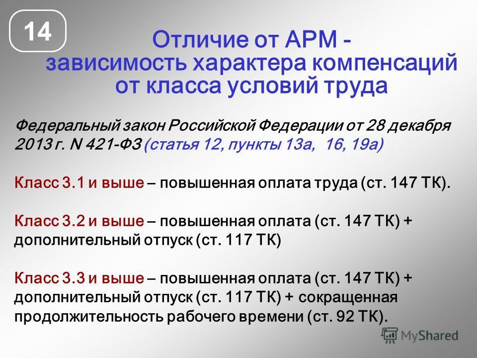 Федеральный закон Российской Федерации от 28 декабря 2013 г. N 421-ФЗ (статья 12, пункты 13а, 16, 19а) Класс 3.1 и выше – повышенная оплата труда (ст. 147 ТК). Класс 3.2 и выше – повышенная оплата (ст. 147 ТК) + дополнительный отпуск (ст. 117 ТК) Кла