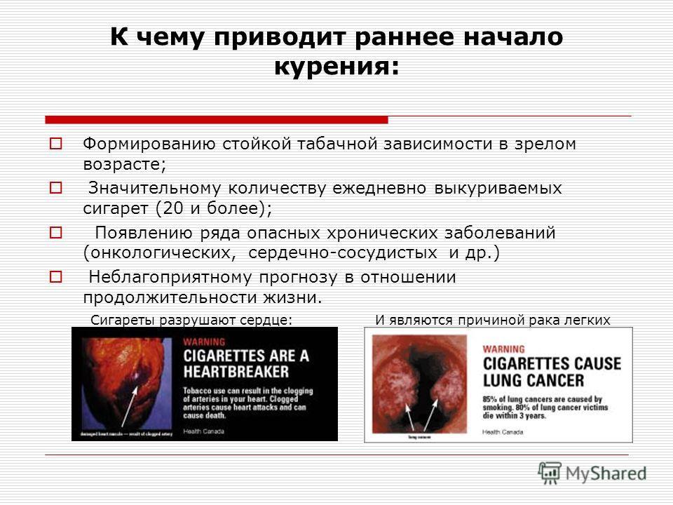 К чему приводит раннее начало курения: Формированию стойкой табачной зависимости в зрелом возрасте; Значительному количеству ежедневно выкуриваемых сигарет (20 и более); Появлению ряда опасных хронических заболеваний (онкологических, сердечно-сосудис