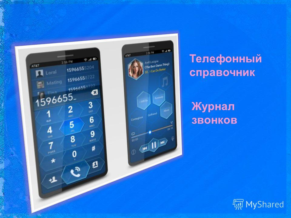 Телефонный справочник Журнал звонков