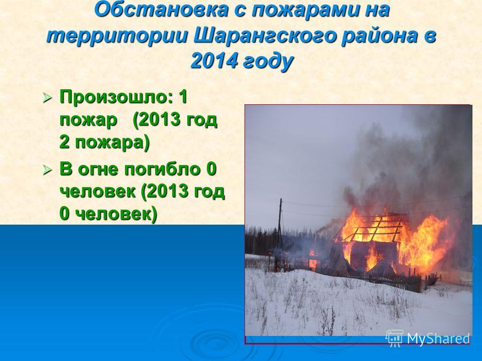 Обстановка с пожарами на территории Шарангского района в 2014 году Произошло: 1 пожар (2013 год 2 пожара) Произошло: 1 пожар (2013 год 2 пожара) В огне погибло 0 человек (2013 год 0 человек) В огне погибло 0 человек (2013 год 0 человек)