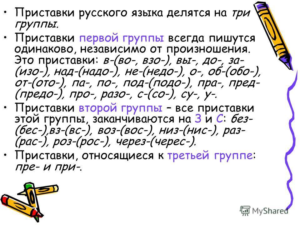 Приставки русского языка делятся на три группы. Приставки первой группы всегда пишутся одинаково, независимо от произношения. Это приставки: в-(во-, взо-), вы-, до-, за- (изо-), над-(надо-), не-(недо-), о-, об-(обо-), от-(ото-), па-, по-, под-(подо-)