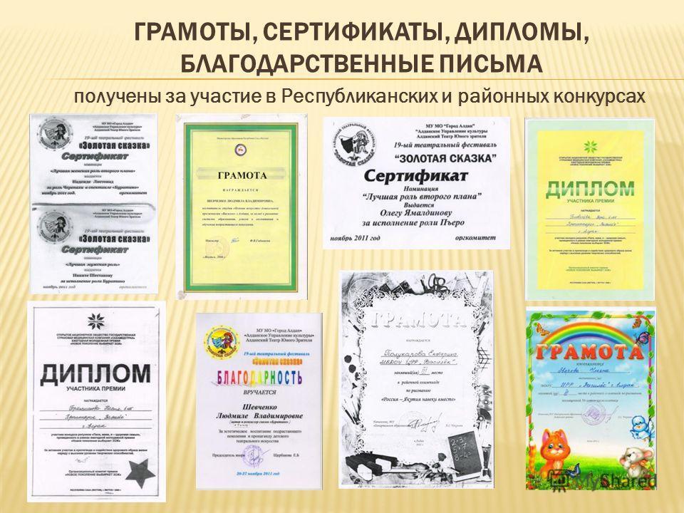 ГРАМОТЫ, СЕРТИФИКАТЫ, ДИПЛОМЫ, БЛАГОДАРСТВЕННЫЕ ПИСЬМА получены за участие в Республиканских и районных конкурсах