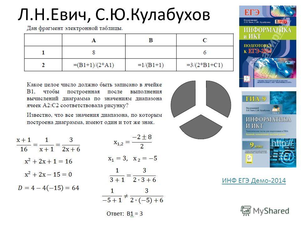 Л.Н.Евич, С.Ю.Кулабухов ИНФ ЕГЭ Демо-2014