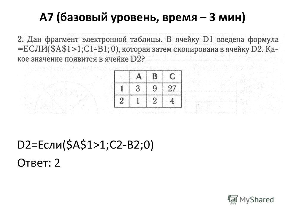 A7 (базовый уровень, время – 3 мин) D2=Если($A$1>1;C2-B2;0) Ответ: 2