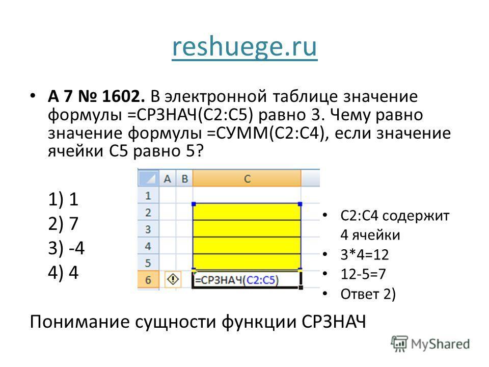 reshuege.ru A 7 1602. В электронной таблице значение формулы =СРЗНАЧ(С2:С5) равно 3. Чему равно значение формулы =СУММ(С2:С4), если значение ячейки С5 равно 5? 1) 1 2) 7 3) -4 4) 4 Понимание сущности функции СРЗНАЧ C2:С4 содержит 4 ячейки 3*4=12 12-5