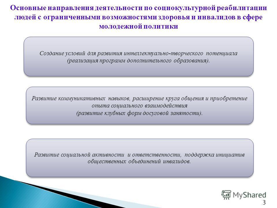 Основные направления деятельности по социокультурной реабилитации людей с ограниченными возможностями здоровья и инвалидов в сфере молодежной политики Создание условий для развития интеллектуально-творческого потенциала (реализация программ дополните