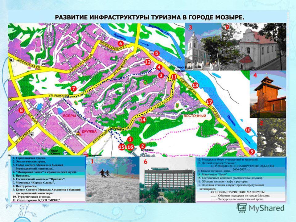 Туризм Работа по развитию туризма в Мозырском районе строится в соответствии с Законом Республики Беларусь «О туризме», Государственной программой развития туризма в Республике Беларусь на 2011-2015 г.г., Государственной программой социально- экономи