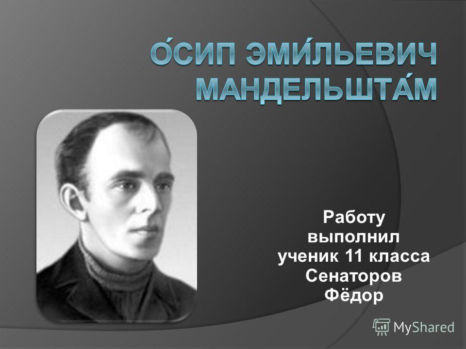 Работу выполнил ученик 11 класса Сенаторов Фёдор