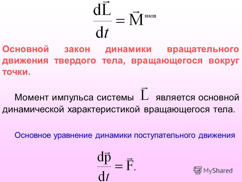 Основной закон динамики вращательного движения твердого тела, вращающегося вокруг точки. Момент импульса системы является основной динамической характеристикой вращающегося тела. Основное уравнение динамики поступательного движения