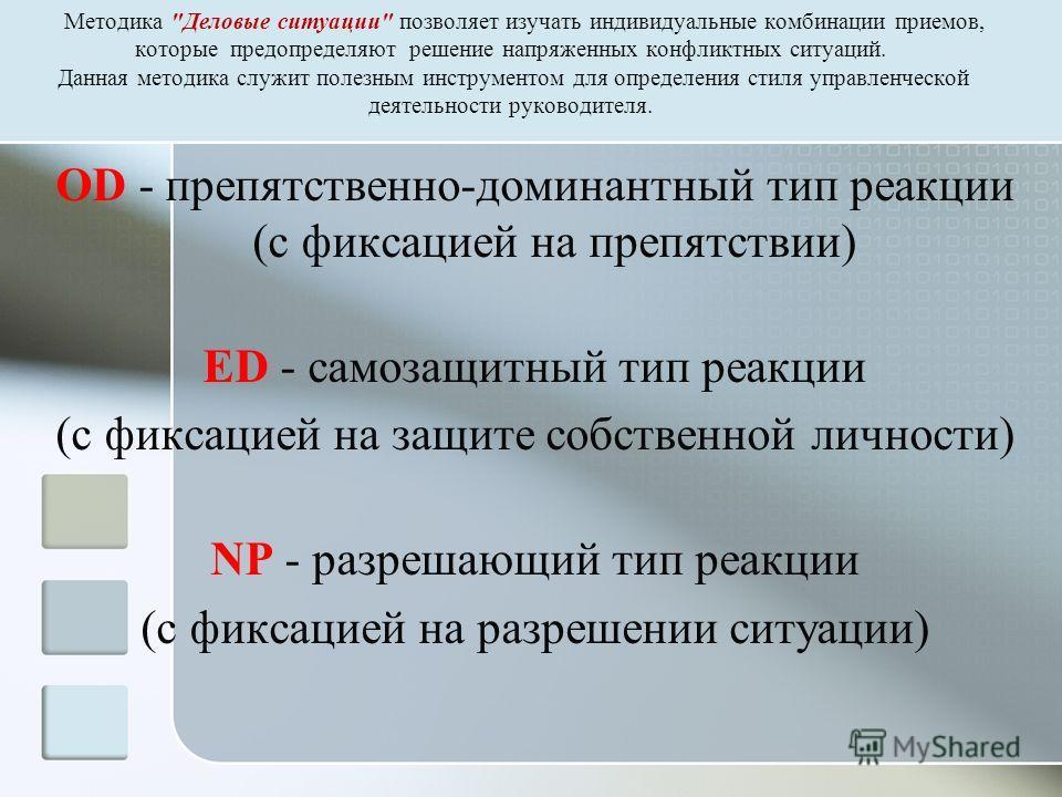 OD - препятственно-доминантный тип реакции (с фиксацией на препятствии) ED - самозащитный тип реакции (с фиксацией на защите собственной личности) NP - разрешающий тип реакции (с фиксацией на разрешении ситуации) Методика
