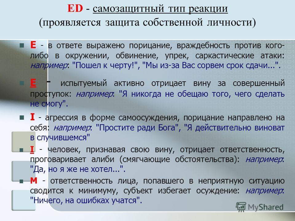 ED - самозащитный тип реакции (проявляется защита собственной личности) Е - в ответе выражено порицание, враждебность против кого- либо в окружении, обвинение, упрек, саркастические атаки: например: