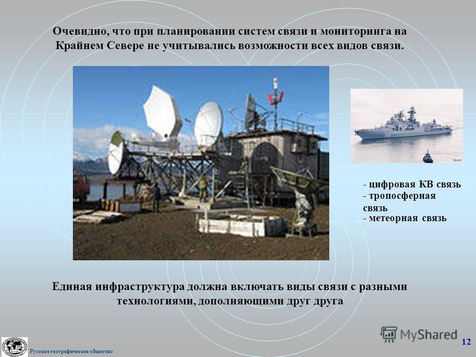 Очевидно, что при планировании систем связи и мониторинга на Крайнем Севере не учитывались возможности всех видов связи. Единая инфраструктура должна включать виды связи с разными технологиями, дополняющими друг друга 12 Русское географическое общест