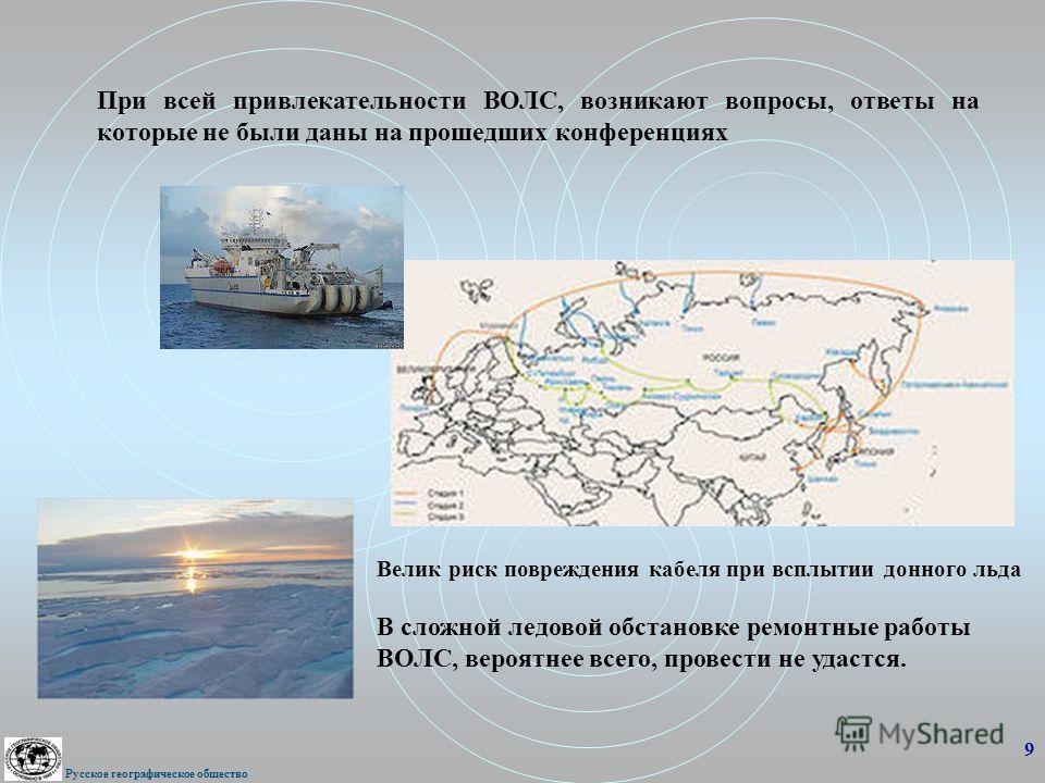 При всей привлекательности ВОЛС, возникают вопросы, ответы на которые не были даны на прошедших конференциях 9 Русское географическое общество В сложной ледовой обстановке ремонтные работы ВОЛС, вероятнее всего, провести не удастся. Велик риск повреж