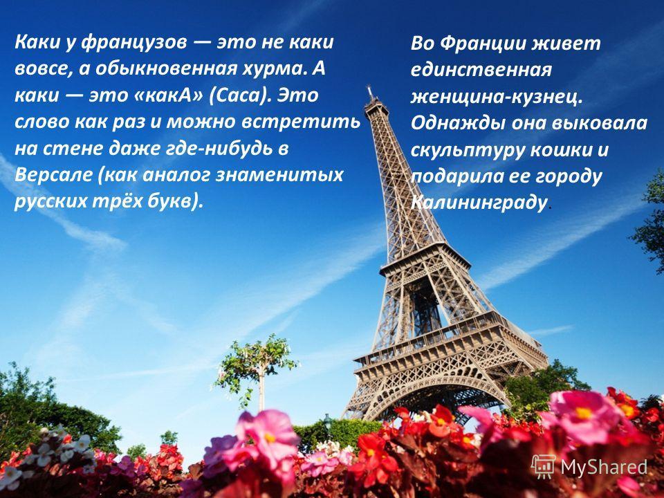 Каки у французов это не каки вовсе, а обыкновенная хурма. А каки это «какА» (Caca). Это слово как раз и можно встретить на стене даже где-нибудь в Версале (как аналог знаменитых русских трёх букв). Во Франции живет единственная женщина-кузнец. Однажд