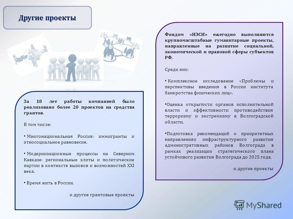 Другие проекты Фондом « ИЭСИ » ежегодно выполняются крупномасштабные гуманитарные проекты, направленные на развитие социальной, экономической и правовой сферы субъектов РФ. Среди них : Комплексное исследование « Проблемы и перспективы введения в Росс