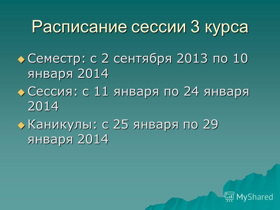 Расписание сессии 3 курса Семестр: с 2 сентября 2013 по 10 января 2014 Семестр: с 2 сентября 2013 по 10 января 2014 Сессия: с 11 января по 24 января 2014 Сессия: с 11 января по 24 января 2014 Каникулы: с 25 января по 29 января 2014 Каникулы: с 25 янв