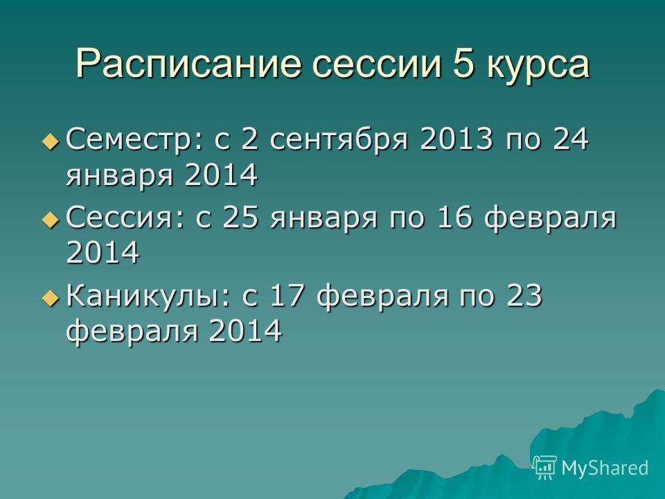 Расписание сессии 5 курса Семестр: с 2 сентября 2013 по 24 января 2014 Семестр: с 2 сентября 2013 по 24 января 2014 Сессия: с 25 января по 16 февраля 2014 Сессия: с 25 января по 16 февраля 2014 Каникулы: с 17 февраля по 23 февраля 2014 Каникулы: с 17